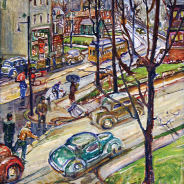 """A Busy Corner,"" by Rachel McClelland Sutton, oil, 1937. 