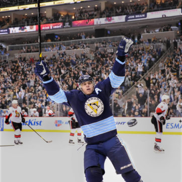Malkin Celebrates, by Peter Diana, November 25, 2011 | 50 Years of Hockey in Pittsburgh | Heinz History Center
