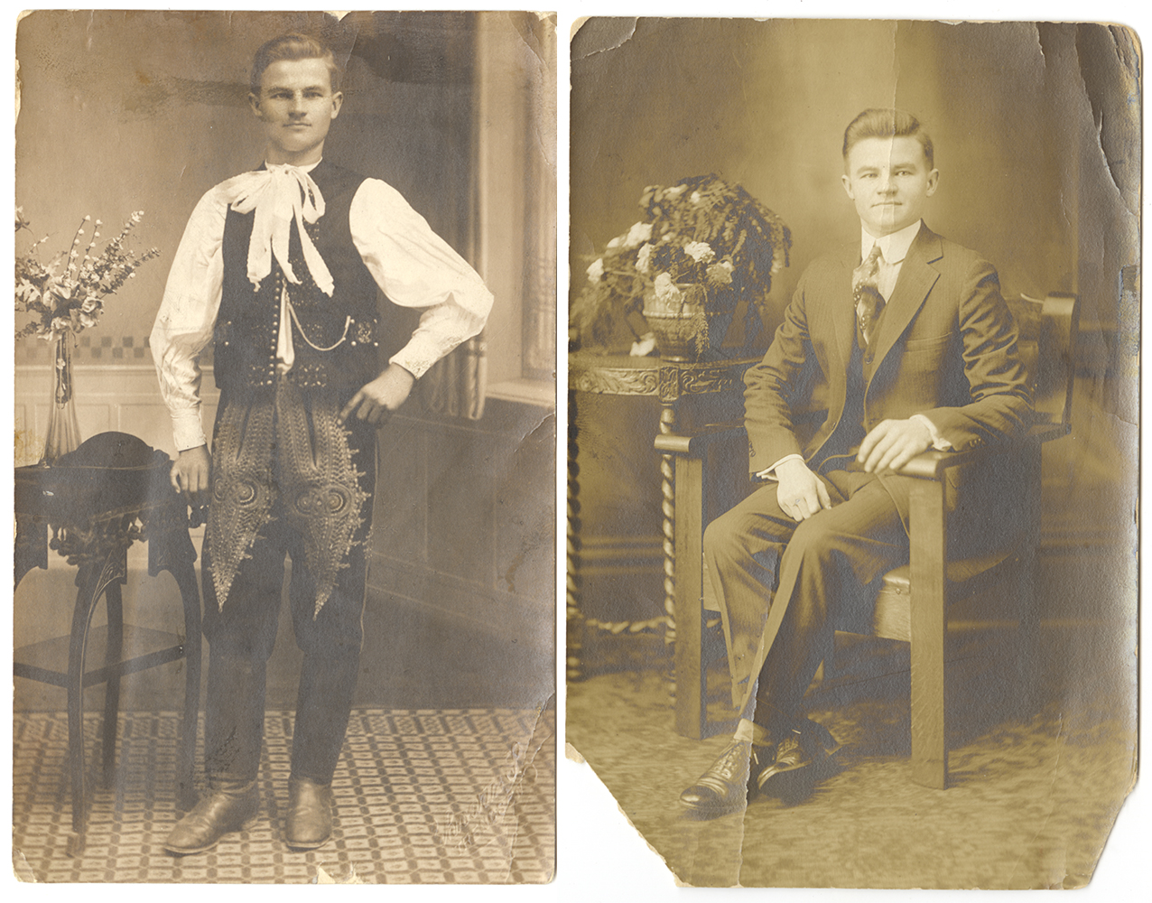 George Hasko in his native Slovak outfit and his American clothes, 1920s. | Heinz History Center