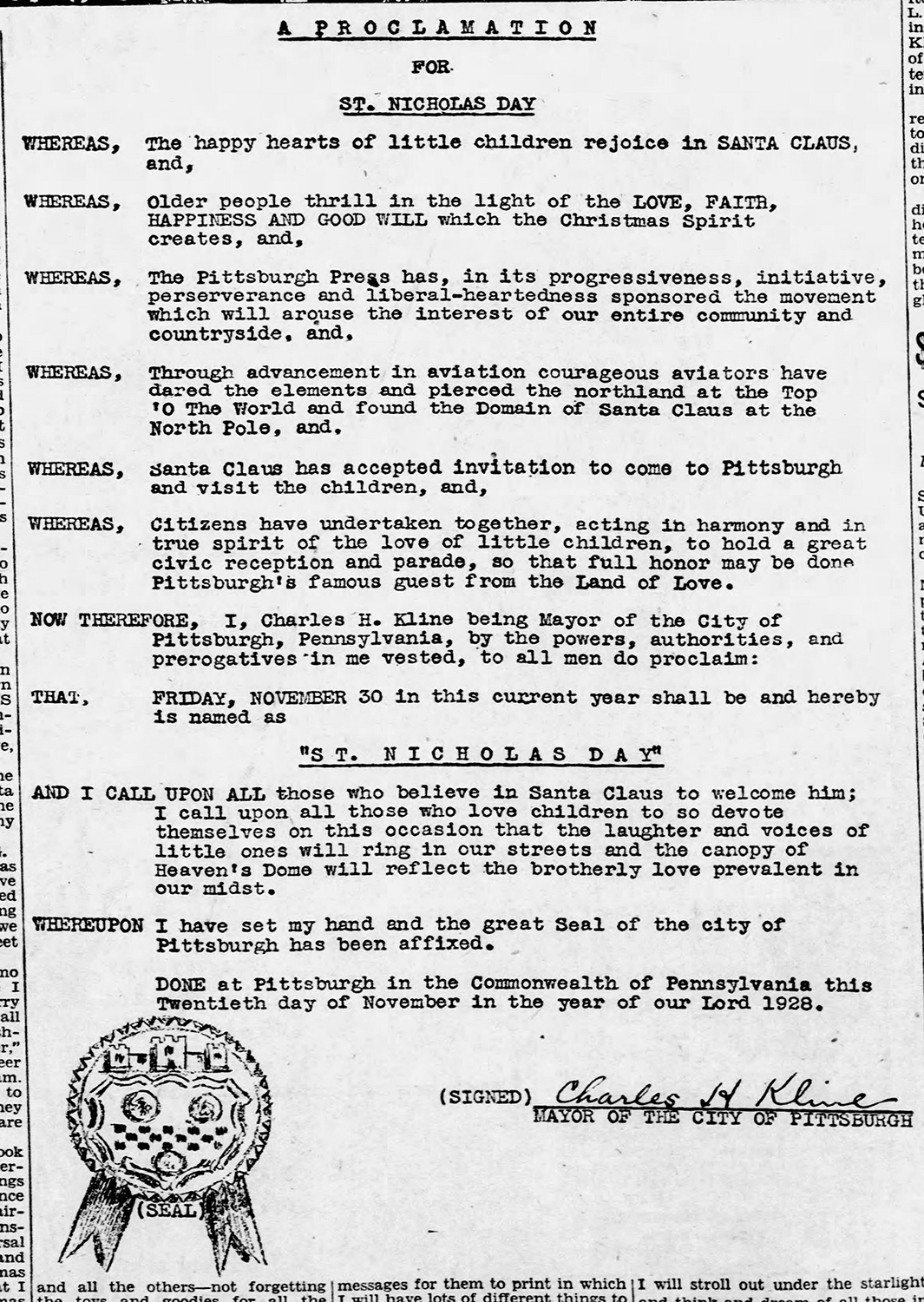"""Pittsburgh Mayor Charles H. Kline announced the arrival of """"St. Nicholas Day"""" on November 30, 1928 with a proclamation published in The Pittsburgh Press on November 18, 1928."""