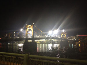 ALT:September 2015, after a game between the Pirates and the Boston Red Sox, a bit past 10 p.m. Taken from the boardwalk along the south side of the Allegheny River just east of the Roberto Clemente Bridge. | Your #Pixburgh Photo Album | #Pixburgh: A Photographic Experience