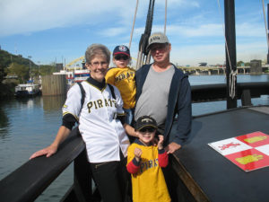 ALT:Debbie Blackburn, her husband, and her grandsons aboard the Pinta, Oct. 6, 2015 when the replica ships Niña and Pinta were docked at Station Square for Columbus Day. | Your #Pixburgh Photo Album | #Pixburgh: A Photographic Experience