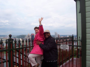 ALT:Kathy Ruffing and friend John Curry, Duquesne Incline station atop Mt. Washington, 2006. | Your #Pixburgh Photo Album | #Pixburgh: A Photographic Experience