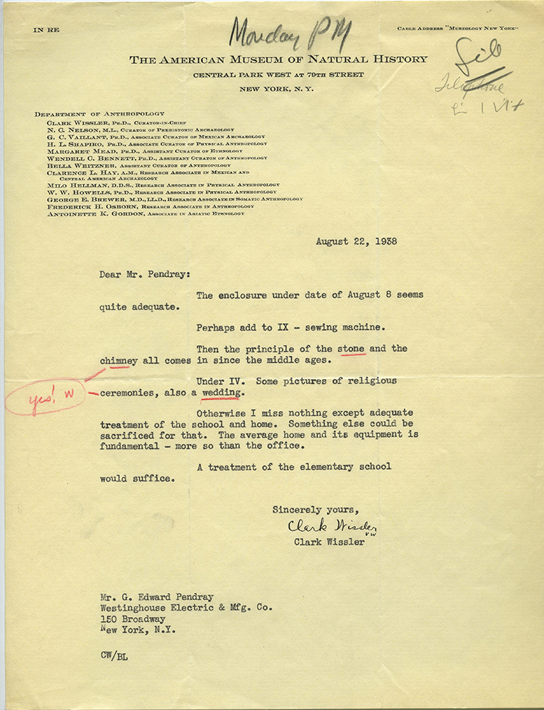 Letter from Clark Wissler, curator-in-chief of the Department of Anthropology at the American Museum of Natural History, to Pendray concerning the contents of the Westinghouse Time Capsule.
