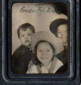ALT:Paulette Buchignani and cousins Bobby and Arline Baltos, early 1950s, Greater Pittsburgh Airport in the photo booth. | Your #Pixburgh Photo Album | #Pixburgh: A Photographic Experience