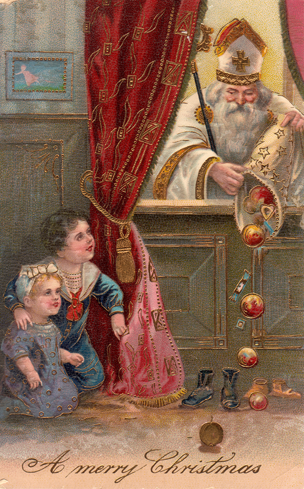 This St. Nicholas Day card is from Germany. Image courtesy of The St. Nicholas Center.