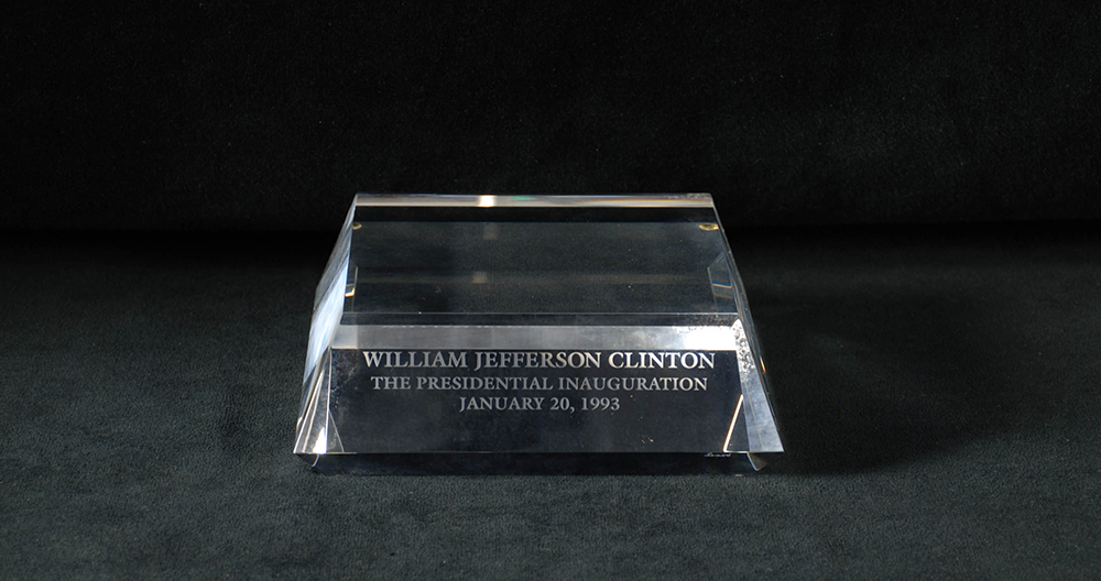 Sample glass stand for Bill Clinton's inaugural gift in 1993. Gift of Lenox Incorporated. Heinz History Center.