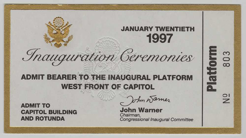 Ticket to Bill Clinton's 1997 inauguration. | Gift of Lenox Incorporated | Heinz History Center