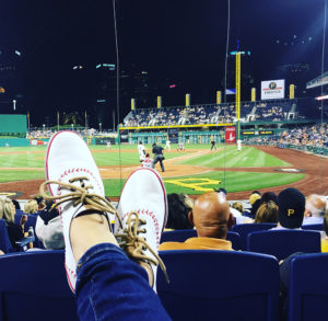 ALT:This photo is of my baseball shoes at a Pittsburgh Pirates game. | Your #Pixburgh Photo Album | #Pixburgh: A Photographic Experience