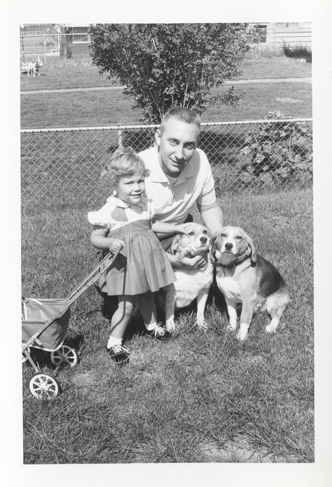 "The Taylor family featured ""Cindy"" the beagle (on the far right) in many family photographs, 1950s. Taylor Family Collection, Detre Library & Archives at the History Center."