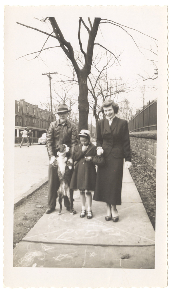 """Corky"" taking a walk with Wilbert, Patsy, and Iris Spieler on Oneida Street, 1940s. Courtesy of a private collection."