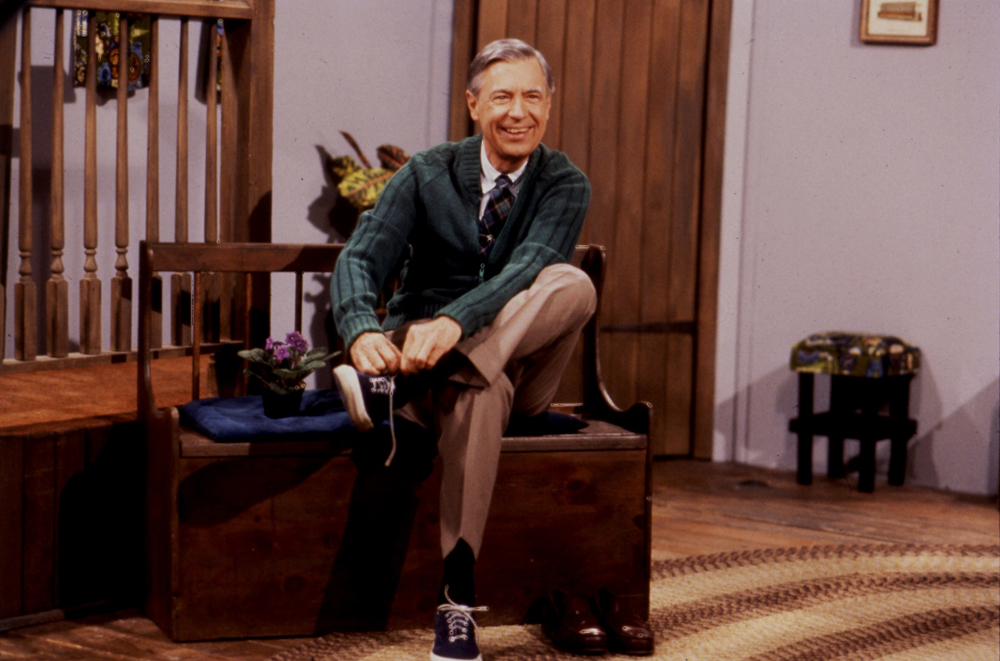 Mister Rogers changing his shoes, which he did at the start of every episode. Photo courtesy of The Fred Rogers Company.