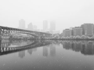 ALT:The city of Pittsburgh during a snow storm, taken from the Southside Flats, December 2016. | Your #Pixburgh Photo Album | #Pixburgh: A Photographic Experience