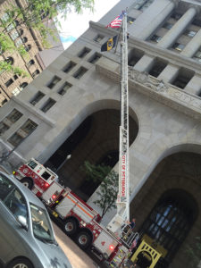 ALT:Pittsburgh Bureau of Fire, #4 Truck, downtown Pittsburgh on Grant St., summer 2016.   Your #Pixburgh Photo Album   #Pixburgh: A Photographic Experience