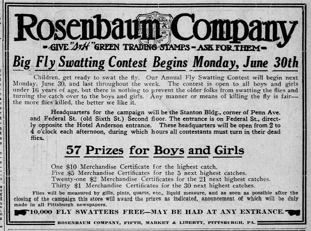 Announcement for the Big Fly Swatting contest, The Rosenbaum Company Department Store, Pittsburgh Post-Gazette, June 26, 1913. | Heinz History Center