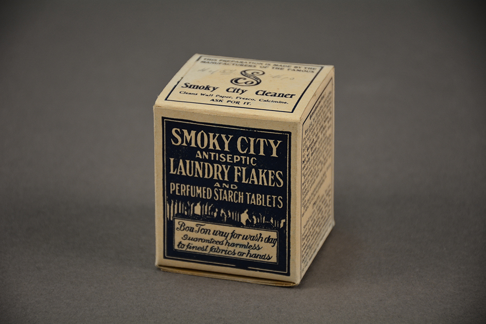Smoky City Antiseptic Laundry Flakes product box, 1910s. | Heinz History Center