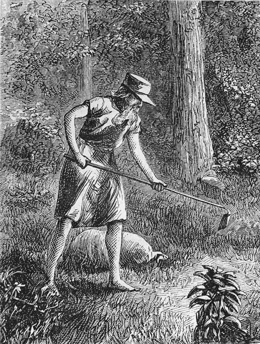 Johnny Appleseed Planting Apple Seeds in Wilderness