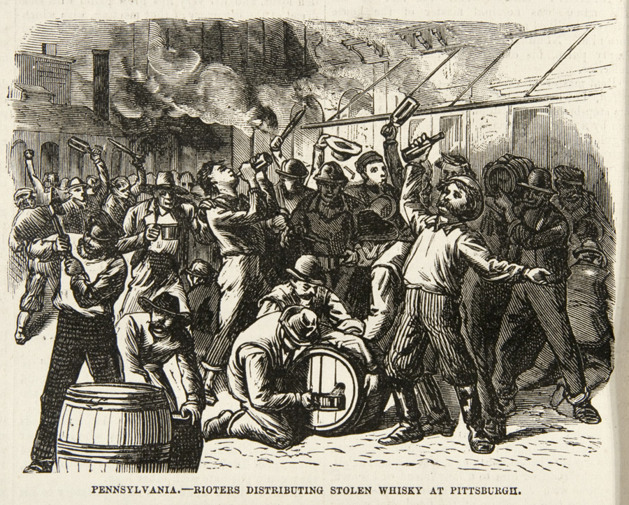 """Rioters distributing stolen whiskey at Pittsburgh,"" Frank Leslie's Illustrated Newspaper, August 4, 1877. 