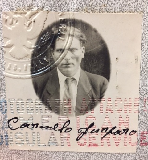 Passport photo of Carmelo Furfaro, 1950s. D'Andrea Papers, Italian American Collection, Heinz History Center.