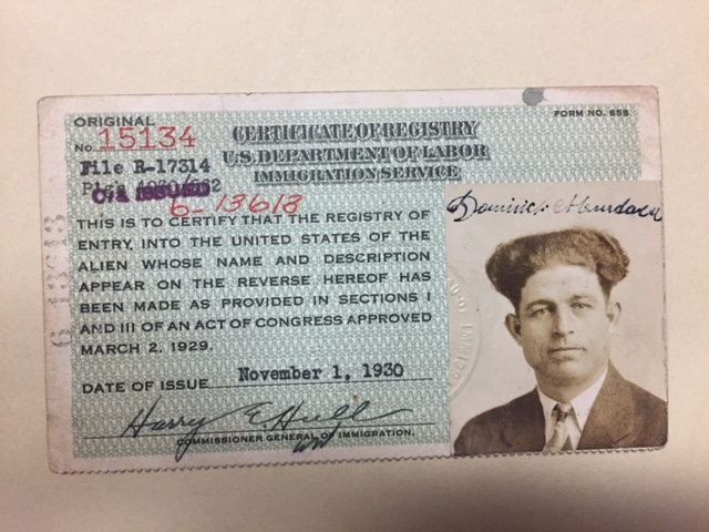 Identification issued by the Department of Labor for Dominic Murdaca, 1930. D'Andrea Papers, Italian American Collection, Heinz History Center.