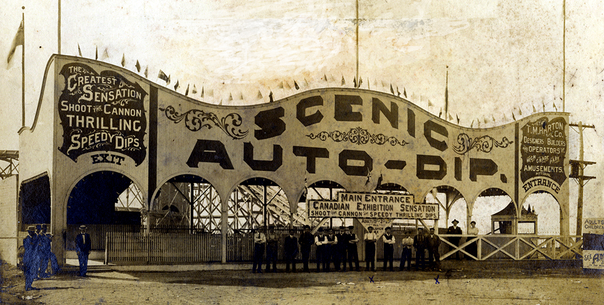 The Scenic Auto-Dip roller coaster at the Canadian National Exhibition, Toronto, around 1902. | Heinz History Center