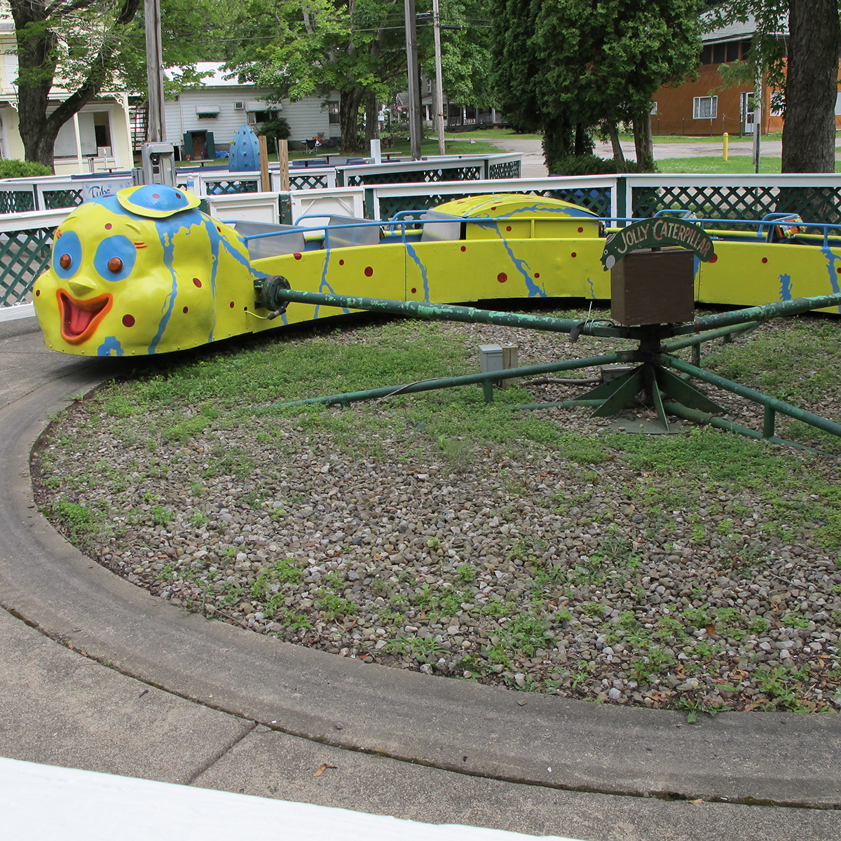 West View Park's kiddie land ride, the Jolly Caterpillar, located today at Conneaut Lake Park in northwestern Pa., 2017. | Heinz History Center