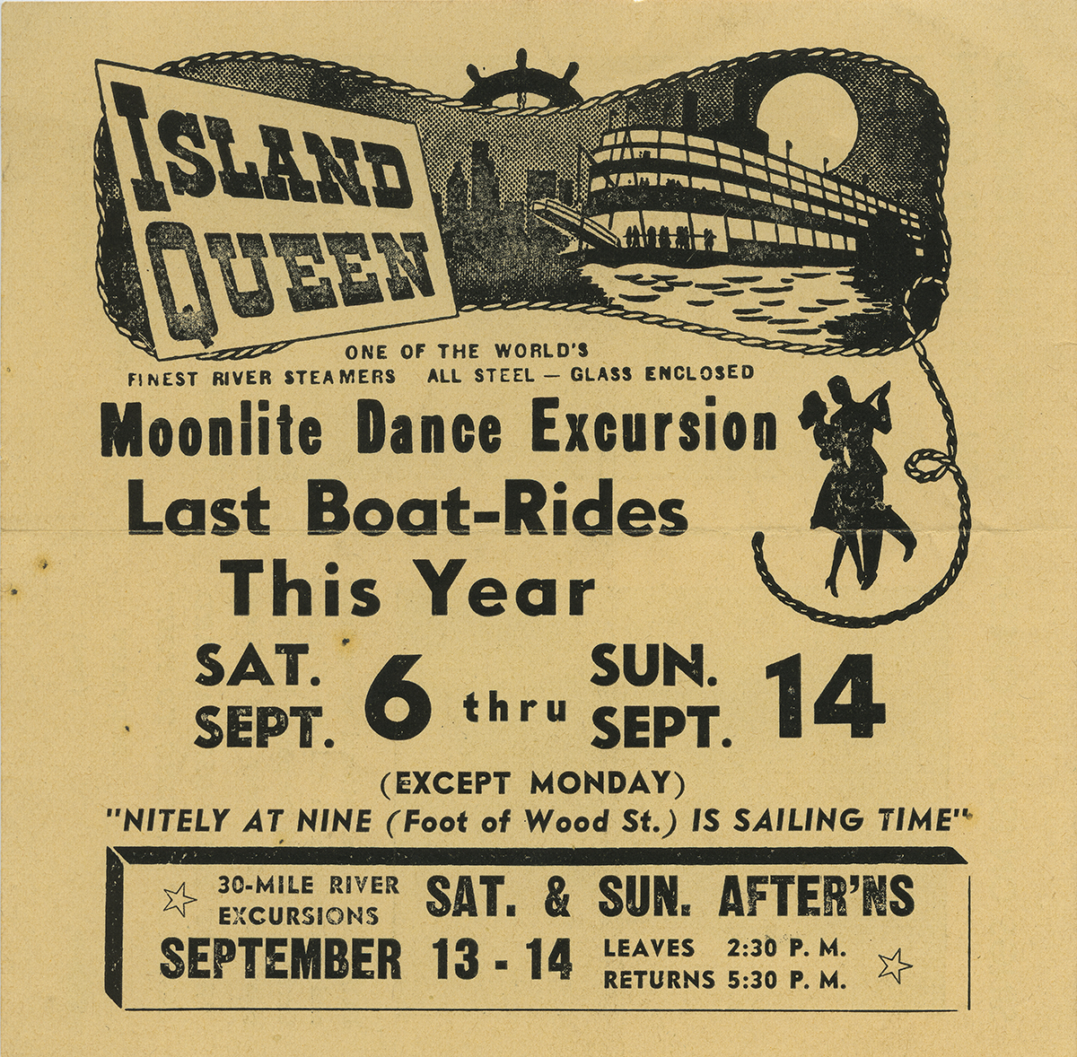 Flyer advertising what became the Island Queen's last voyage to Pittsburgh, 1947. | Heinz History Center