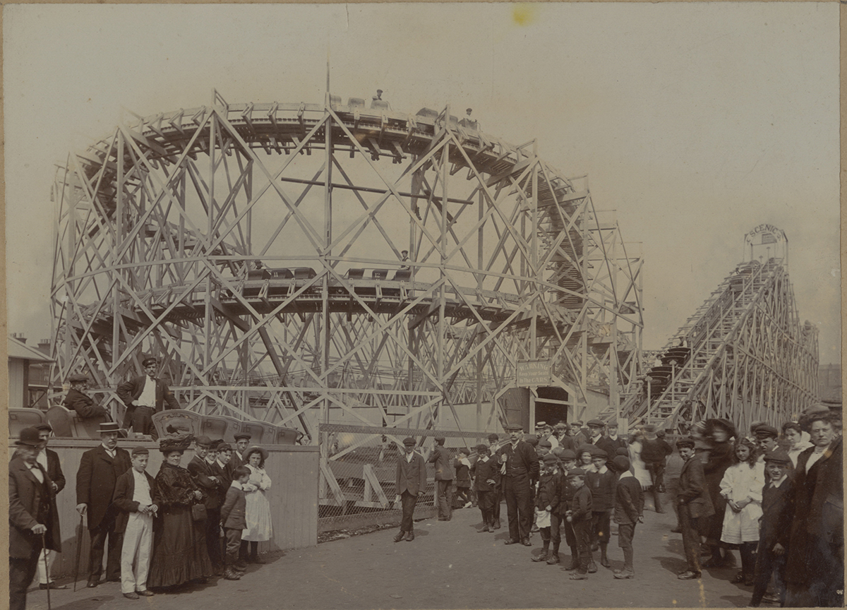 Crowds gather around a new roller coaster built by Erwin Vettel in England in the early 1900s. | Heinz History Center