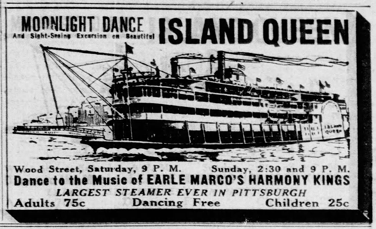 Advertisement from the Pittsburgh Press announcing the Island Queen's first visit to Pittsburgh in 1931. From the Pittsburgh Press, Sept. 17, 1931.