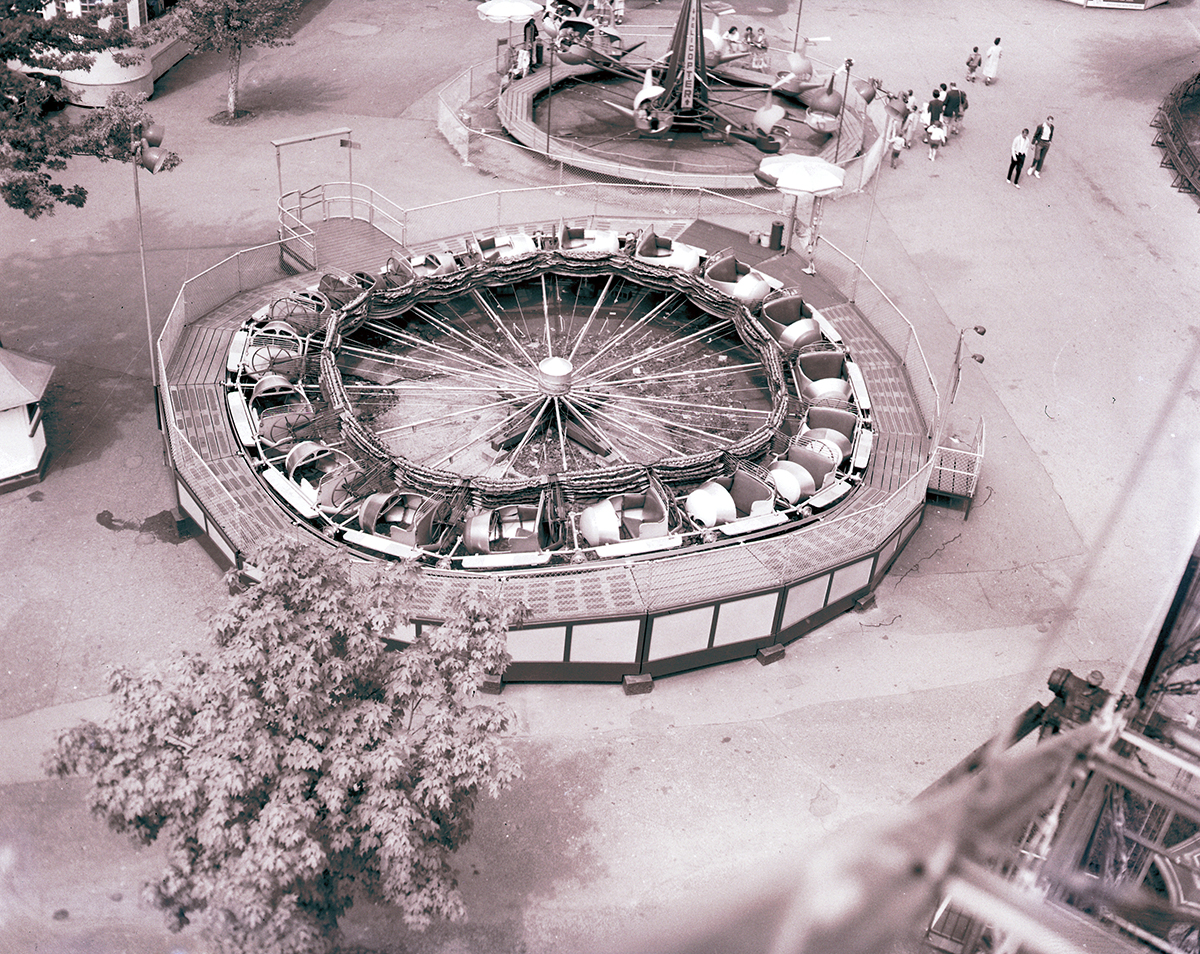 Aerial view of the Caterpillar ride at West View Park, 1961. | Heinz History Center