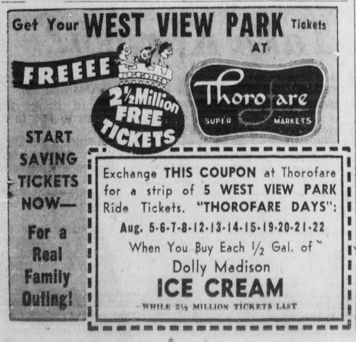 "Advertisement and product coupon for West View Park' s ""Thorofare Day"" promotion. From the Pittsburgh Post-Gazette, July 24, 1958. 