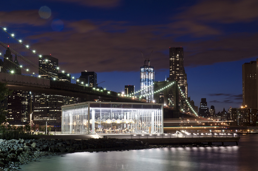 The pavilion for Jane's Carousel (formerly the Idora Park carousel) at Brooklyn Bridge Park, 2011. | Heinz History Center
