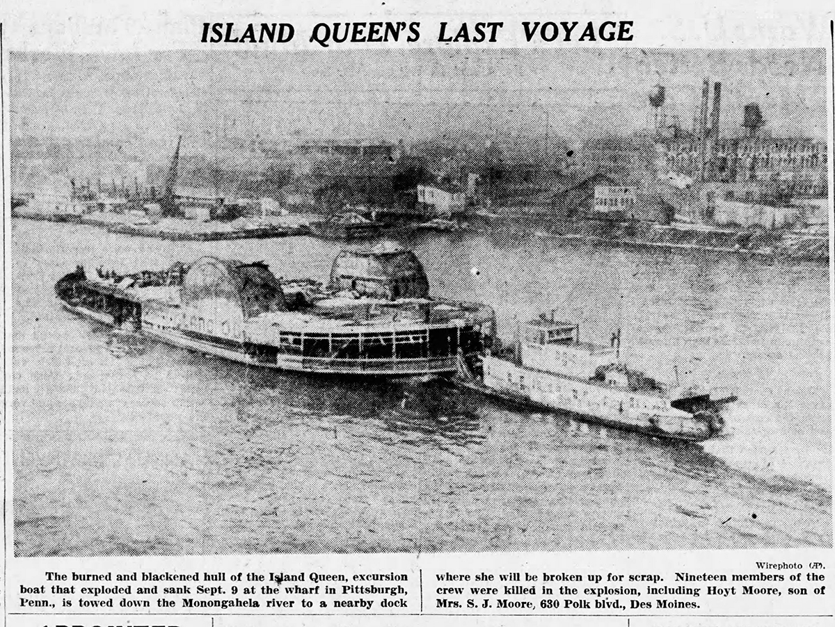 "In December, images of the boat's ""last ride"" appeared in newspapers across the country. From the Des Moines Tribune (Iowa), Dec. 26, 1947."