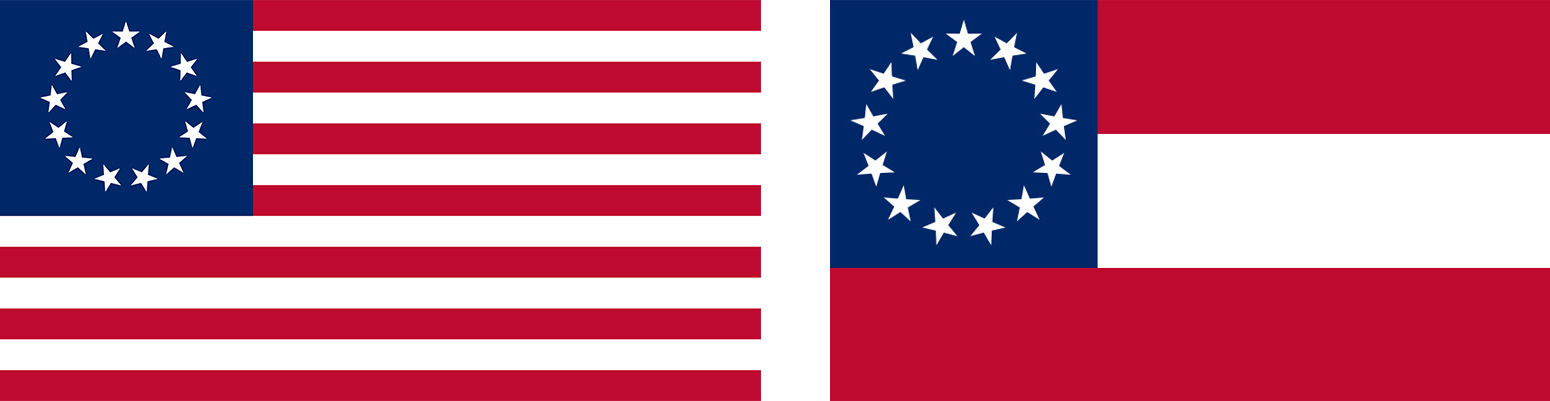 In 1776, the original Stars and Stripes (left) represented the union of states, North and South. In 1861, Confederates fabricated the Stars and Bars (right) by simply rearranging the stripes of the flag of the United States.