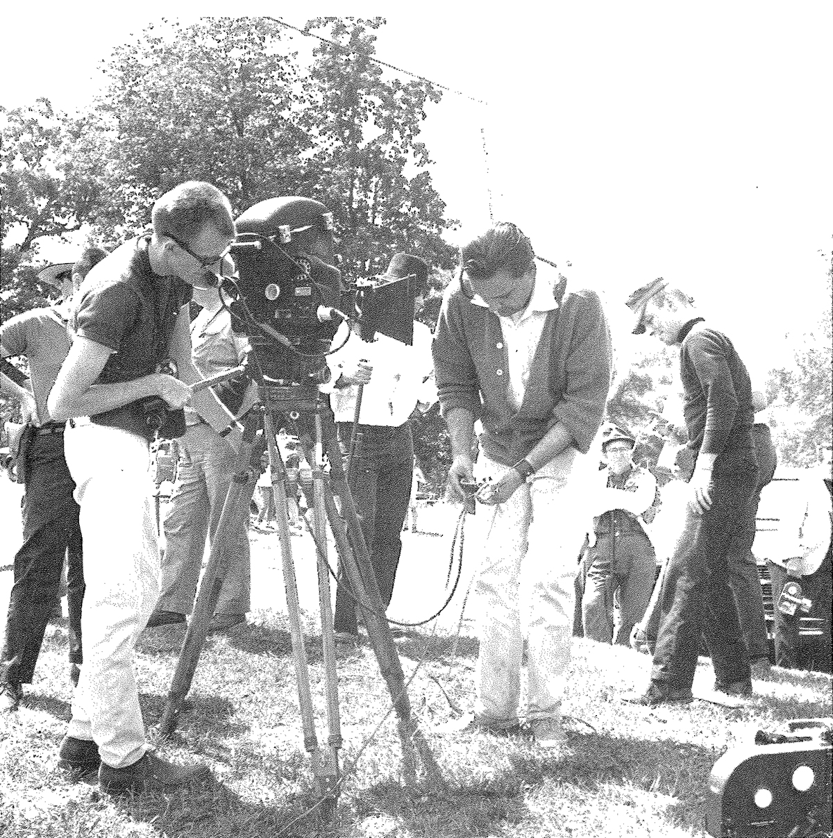 "Bill Hinzman and George Romero on a camera set-up during the filming of ""Night of the Living Dead."" Photo courtesy of John Russo's ""The Complete Night of the Living Dead Filmbook."""