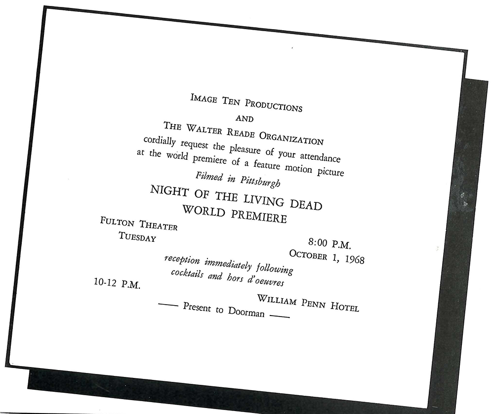 "Invitation to the world premiere of ""Night of the Living Dead"" in Pittsburgh, Oct. 1, 1968. Image courtesy of John Russo's ""The Complete Night of the Living Dead Filmbook."""