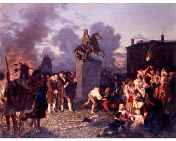 On July 9, 1776, a New York mob pulled down the statue of King George III and hammered it to pieces. (Pulling Down the Statue of George III, inspired by a painting by Johannes A. Oertel.)