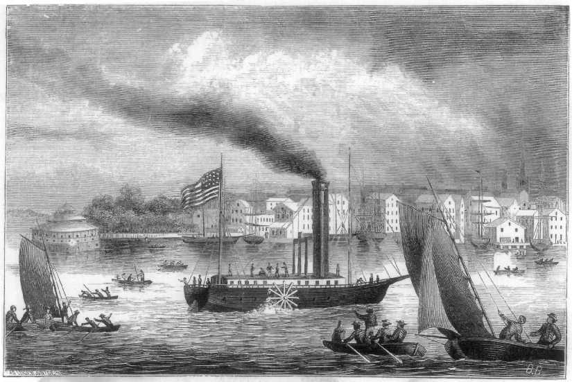 Illustration of Robert Fulton's first steamboat on the Hudson River in 1807. | Heinz History Center