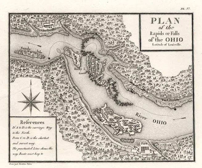 Early map showing the Falls of the Ohio, 1769. | Heinz History Center