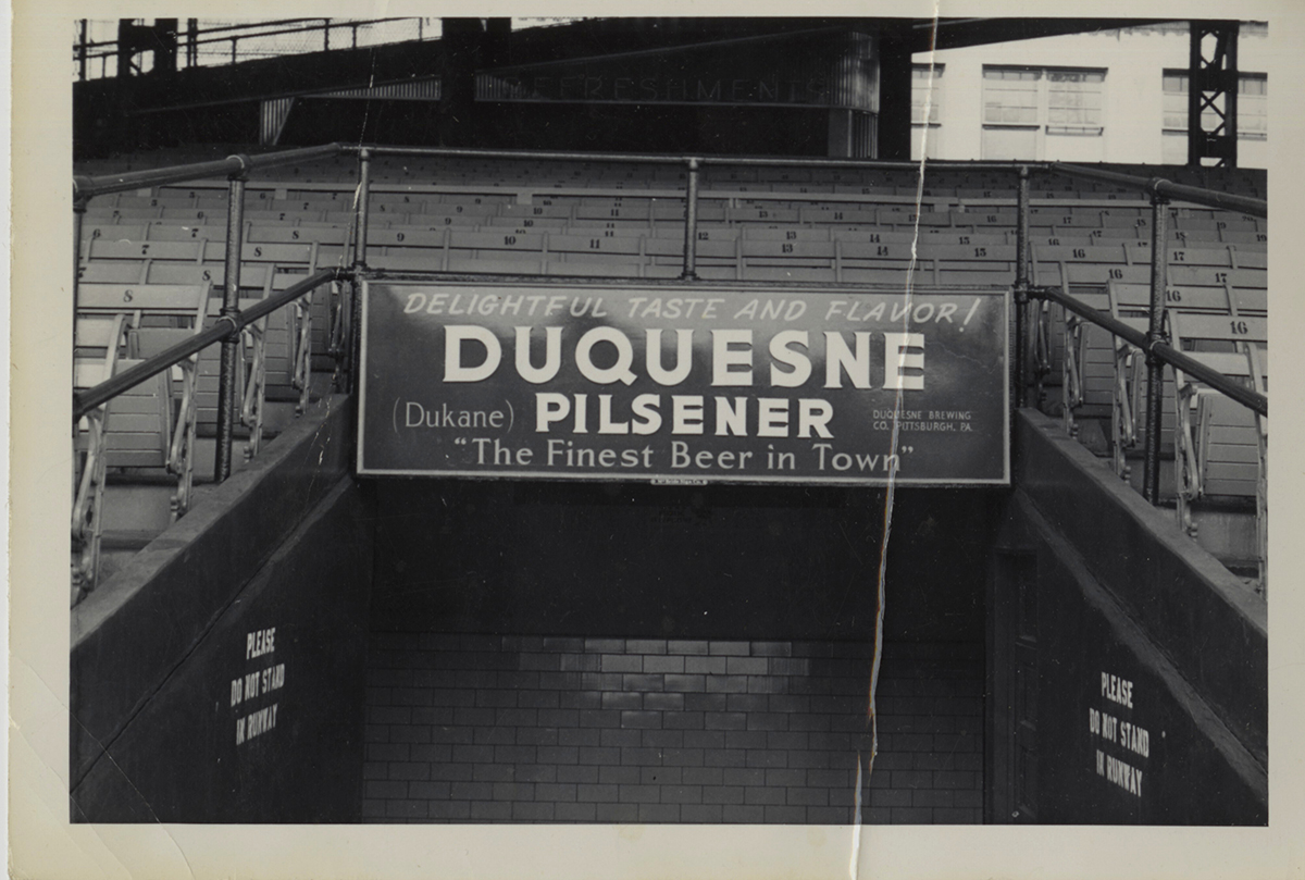 Duquesne Pilsener sign over an exit at Forbes Field, c. 1935-1940. | Heinz History Center