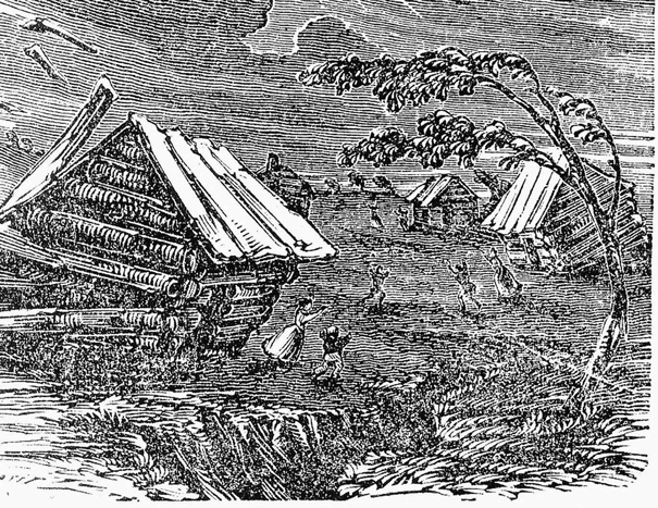 Woodcut illustration of the New Madrid Earthquake, 1811-1812, from a 19th century publication. Credit: State Historical Society of Missouri.