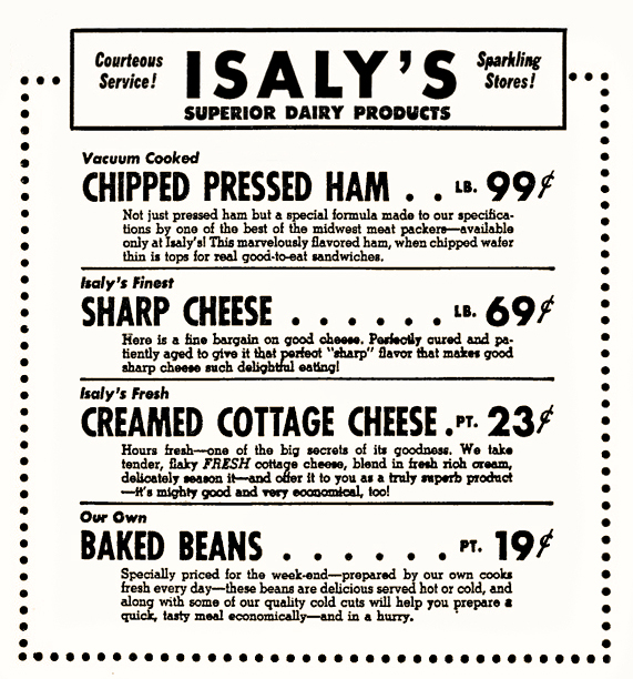 Isaly's price list, c. 1950. Author collection.