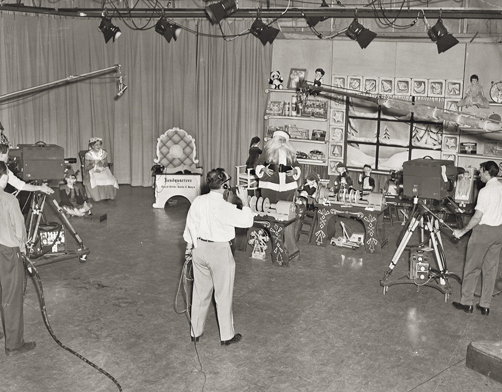 Heid as Santa in a TV studio, 1950. Photo courtesy of Jim Heid.