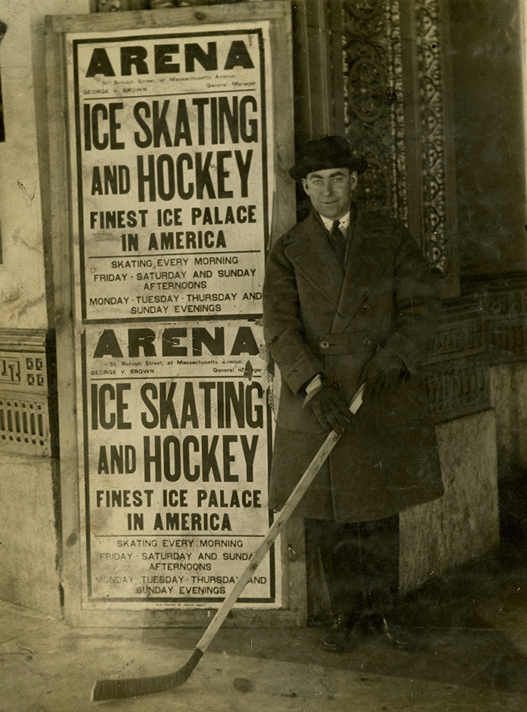 Herb Drury stands outside Duquesne Gardens in the Oakland neighborhood of Pittsburgh, c. 1925. Courtesy of Frederick R. Favo.