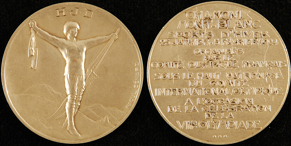 Silver Olympic medal won by Herb Drury, 1924. Gift of Frederick R. Favo.