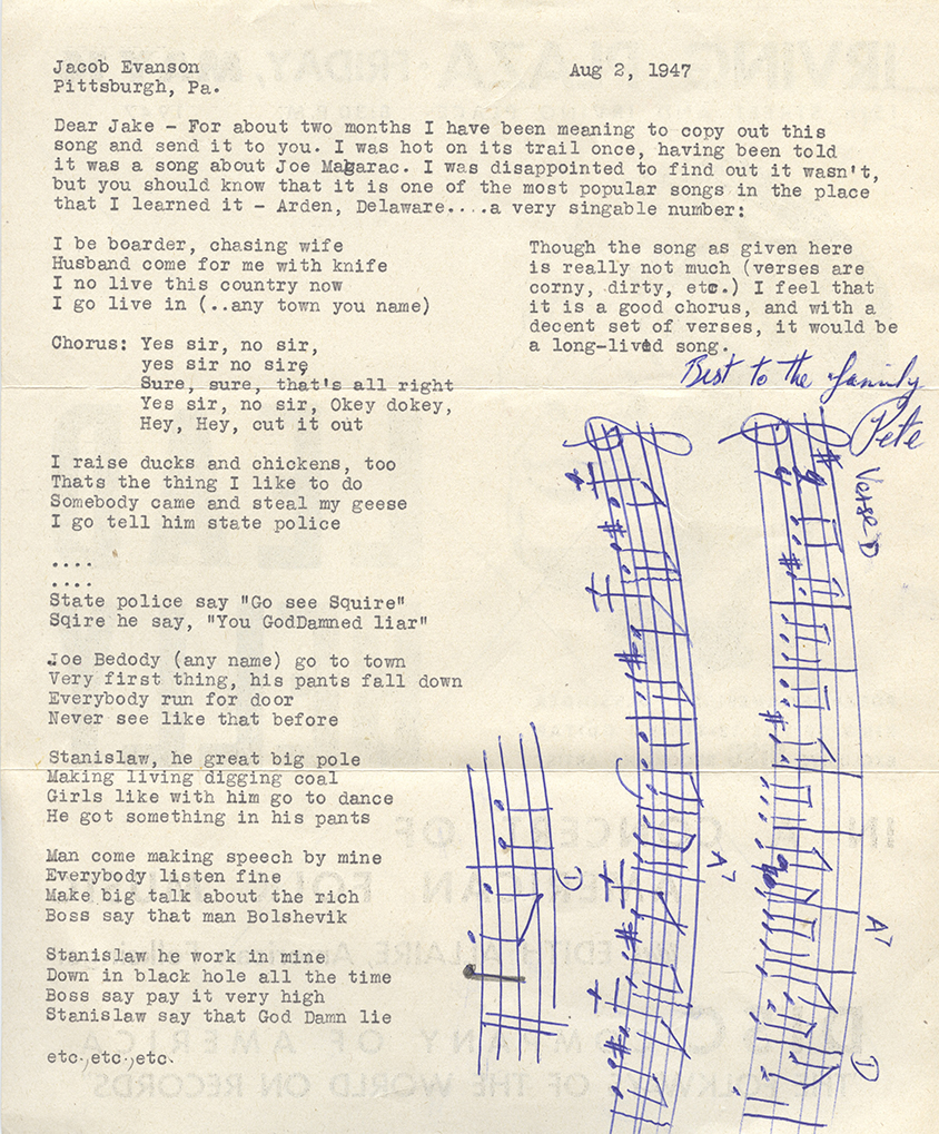 Evanson's friend, renowned folk musician Pete Seeger, transcribed this song on the back of a Lead Belly concert flyer. Jacob A. Evanson Papers, Detre Library & Archives at the Heinz History Center.