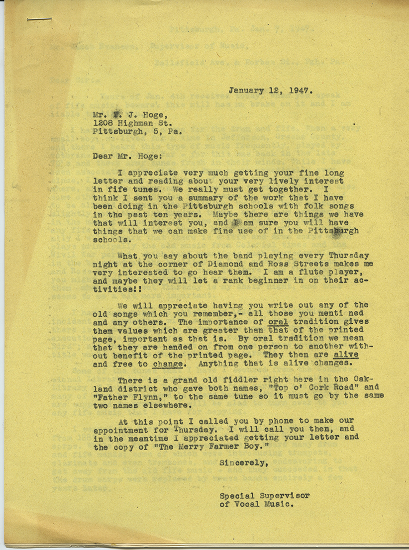 Letter Evanson wrote to T.J. Hoge, a drummer in the Pittsburgh's Pioneer Fife and Drum Corps, about the importance of documenting old songs. Jacob A. Evanson Papers, Detre Library & Archives at the Heinz History Center.