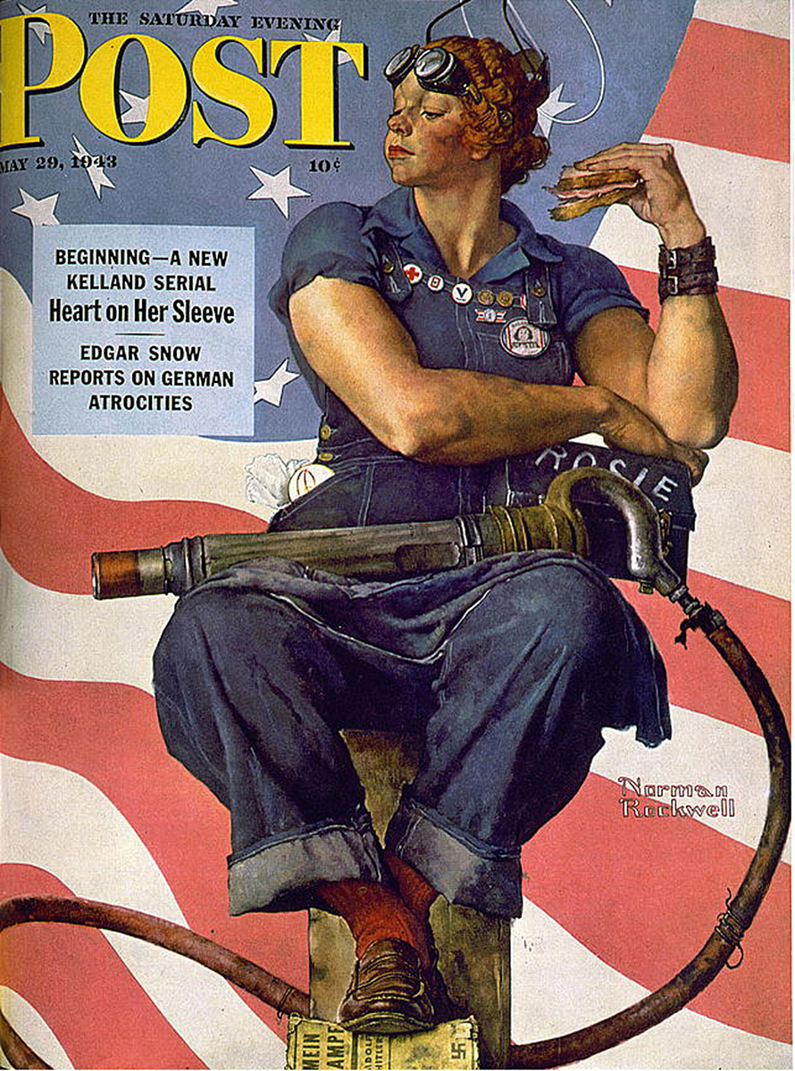 """Norman Rockwell's """"Rosie the Riveter"""" in The Saturday Evening Post, May 29, 1943."""
