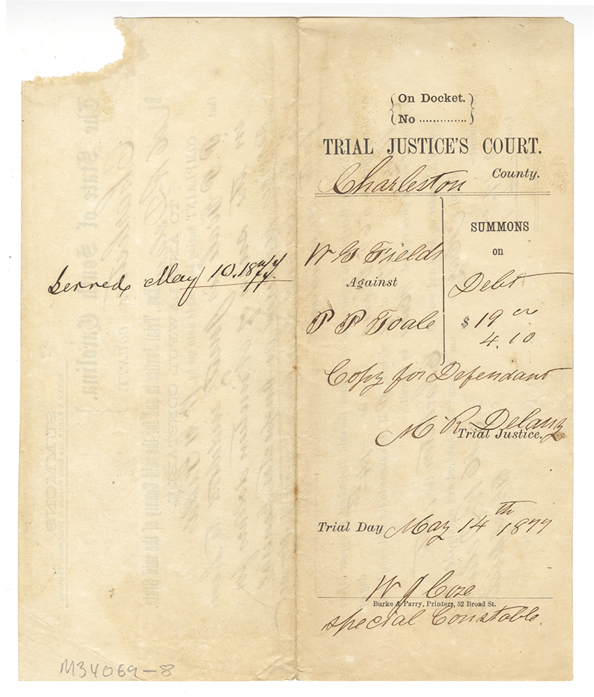 South Carolina State Court Summons Signed by Martin Delany, 1877, 2017.0141, Detre Library & Archives at the History Center.