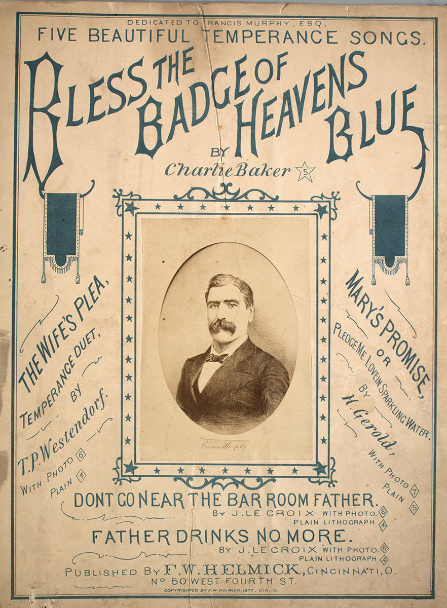 """""""Bless the Badge of Heavens Blue"""" sheet music cover, 1877."""